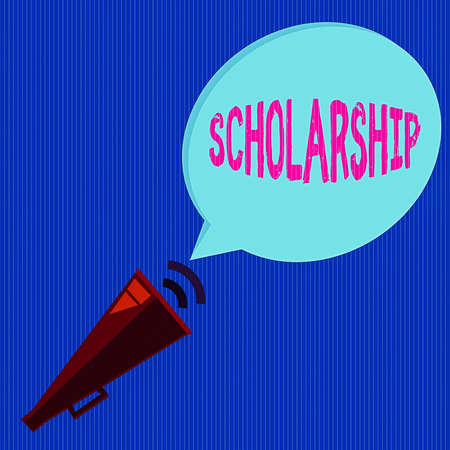 Word writing text Scholarship. Business photo showcasing grant or payment made to support a student s is education Piped Megaphone with Sound Effect icon and Blank Halftone Speech Bubble