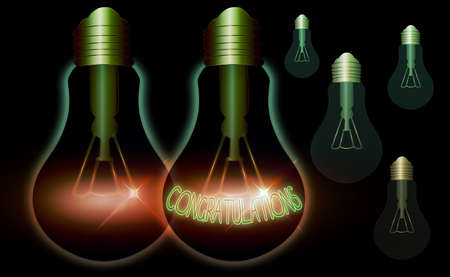 Writing note showing Congratulations. Business concept for a congratulatory expression usually used in plural form Realistic colored vintage light bulbs, idea sign solution