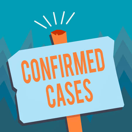 Conceptual hand writing showing Confirmed Cases. Concept meaning set of circumstances or conditions requiring action Blank Old Weathered Signpost Geometrical Shape with stand
