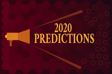 Handwriting text 2020 Predictions. Conceptual photo statement about what you think will happen in 2020 Megaphone Extending Loudness and Volume Range for Public Announcement