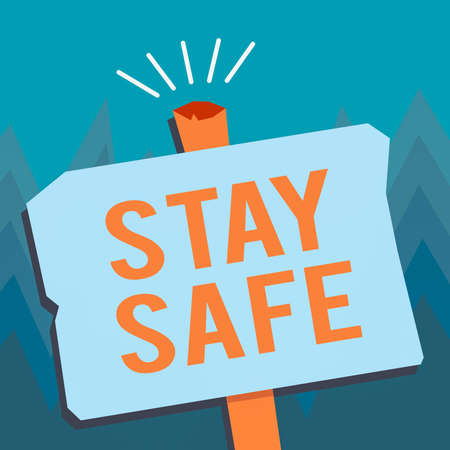 Conceptual hand writing showing Stay Safe. Concept meaning secure from threat of danger, harm or place to keep articles Blank Old Weathered Signpost Geometrical Shape with stand Foto de archivo