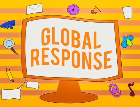 Text sign showing Global Response. Business photo text indicates the behaviour of material away from impact point Web Application Software icons Surrounding Blank Mounted Computer Monitor