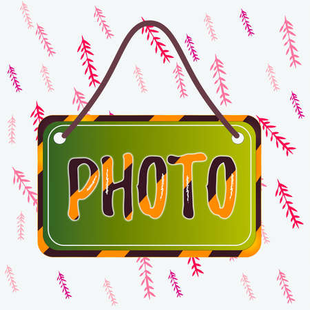 Handwriting text writing photo. Conceptual photo defined as produced by light, image taken with the help of light. Board attached string color black yellow frame empty blank rectangle shape