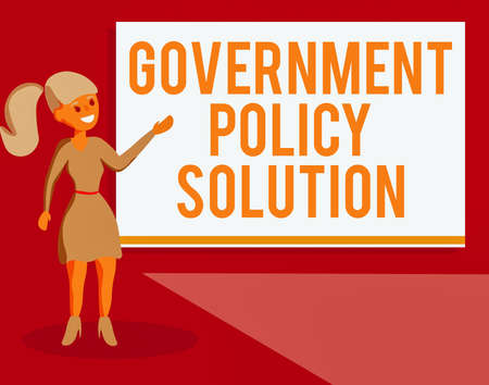 Handwriting text Government Policy Solution. Conceptual photo designed game plan created in response to emergency disaster Wo analysis Standing Talking Hand Presenting Audio Visual Blank Projector Screen