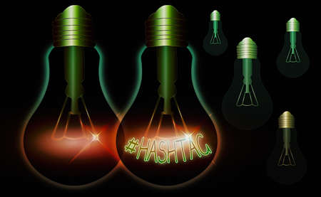 Writing note showing Hashtaghashtag. Business concept for word preceded by a hash sign hashtag on social media websites Realistic colored vintage light bulbs, idea sign solution