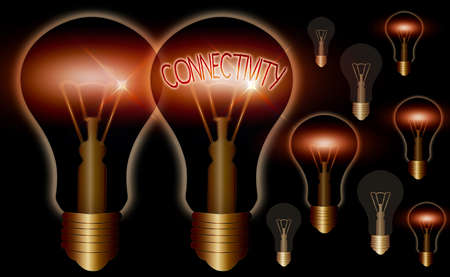 Word writing text Connectivity. Business photo showcasing quality, state, or capability of being connective or connected Realistic colored vintage light bulbs, idea sign solution thinking concept