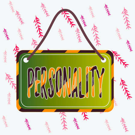 Handwriting text writing Personality. Conceptual photo the condition or fact of relating to a particular an individual Board attached string color black yellow frame empty blank rectangle shape