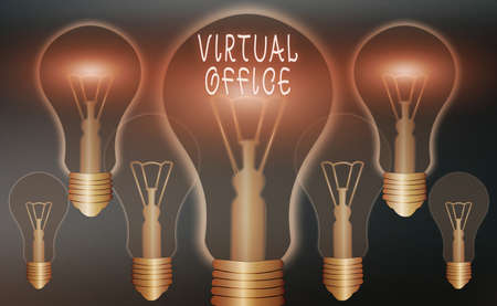 Conceptual hand writing showing Virtual Office. Concept meaning operational domain of any business or organization virtually Realistic colored vintage light bulbs, idea sign solution