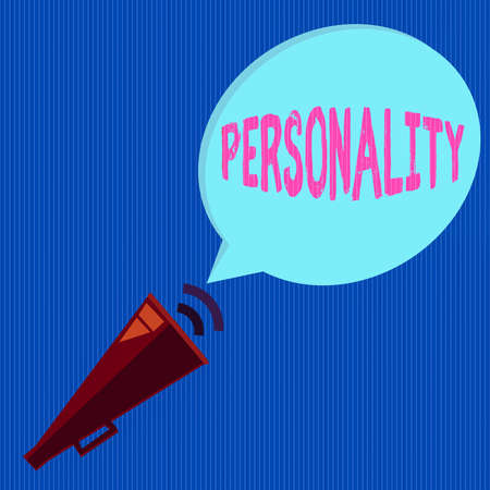 Word writing text Personality. Business photo showcasing the condition or fact of relating to a particular an individual Piped Megaphone with Sound Effect icon and Blank Halftone Speech Bubble Reklamní fotografie