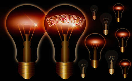 Word writing text Distribution. Business photo showcasing position, arrangement, or frequency of occurrence over an area Realistic colored vintage light bulbs, idea sign solution thinking concept