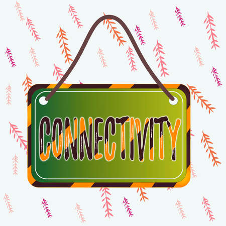 Handwriting text writing Connectivity. Conceptual photo quality, state, or capability of being connective or connected Board attached string color black yellow frame empty blank rectangle shape