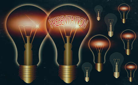 Word writing text Presentation. Business photo showcasing act, power, or privilege especially of a patron of applying Realistic colored vintage light bulbs, idea sign solution thinking concept