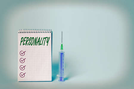 Conceptual hand writing showing Personality. Concept meaning the condition or fact of relating to a particular an individual Set of medical equipment with notepad for health assessment