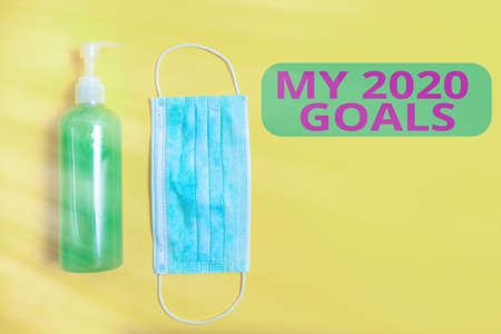 Text sign showing My 2020 Goals. Business photo showcasing setting up an individualal goals or plans for the current year Primary medical precautionary equipments for health care protection 写真素材