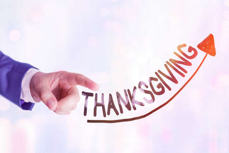 Writing note showing Thanksgiving. Business concept for public acknowledgment or celebration of divine goodness Digital arrowhead curve denoting growth development concept
