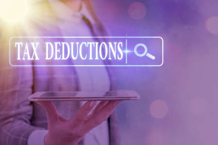 Text sign showing Tax Deductions. Business photo text an amount or cost that subtracted from someone s is income Web search digital information futuristic technology network connection