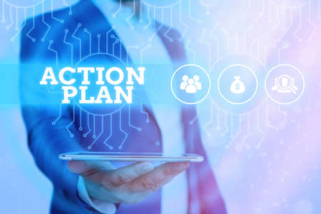 Conceptual hand writing showing Action Plan. Concept meaning detailed plan outlining actions needed to reach goals or vision System administrator control, gear configuration settings