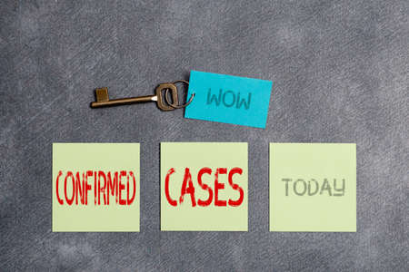 Conceptual hand writing showing Confirmed Cases. Concept meaning set of circumstances or conditions requiring action Paper accessories with smartphone arranged on different background