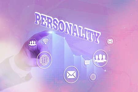 Writing note showing Personality. Business concept for the condition or fact of relating to a particular an individual Arrow symbol going upward showing significant achievement
