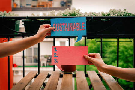 Text sign showing Sustainable. Business photo showcasing the ability to be sustained, supported, upheld, or confirmed Empty bubble chat sticker notes mock up emphasizing personal idea concept