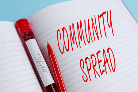 Handwriting text writing Community Spread. Conceptual photo dissemination of a highlycontagious disease within the local area Extracted blood sample vial with medical accessories ready for examination 写真素材