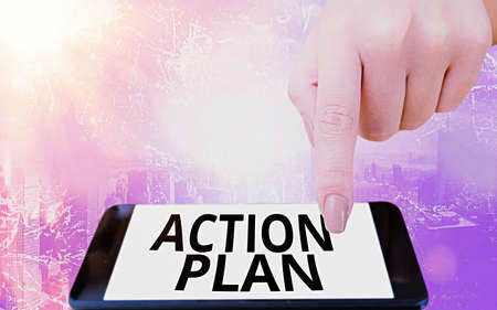Conceptual hand writing showing Action Plan. Concept meaning detailed plan outlining actions needed to reach goals or vision Modern gadgets white screen under colorful bokeh background
