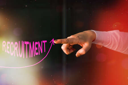 Text sign showing Recruitment. Business photo text action of finding new possible employee to join organization or support digital arrowhead curve rising upward denoting growth development concept