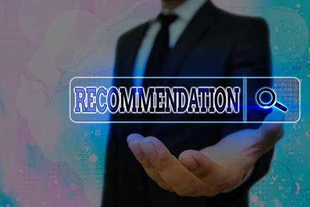 Writing note showing Recommendation. Business concept for something that recommends or expresses commendation Web search digital information futuristic technology network connection
