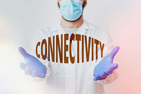Handwriting text Connectivity. Conceptual photo quality, state, or capability of being connective or connected Laboratory Technician Featuring Empty Sticker Paper Accessories Smartphone