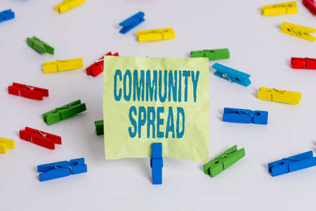 Writing note showing Community Spread. Business concept for dissemination of a highlycontagious disease within the local area Colored clothespin papers empty reminder white floor background office Reklamní fotografie