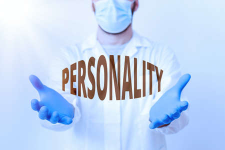 Handwriting text Personality. Conceptual photo the condition or fact of relating to a particular an individual Laboratory Technician Featuring Empty Sticker Paper Accessories Smartphone