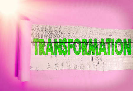 Text sign showing Transformation. Business photo showcasing process, or instance of transforming or being transformed Rolled ripped torn cardboard placed above a wooden classic table backdrop