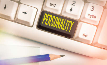 Text sign showing Personality. Business photo text the condition or fact of relating to a particular an individual Different colored keyboard key with accessories arranged on empty copy space