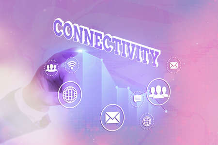 Writing note showing Connectivity. Business concept for quality, state, or capability of being connective or connected Arrow symbol going upward showing significant achievement