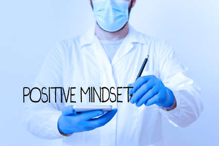 Text sign showing Positive Mindset. Business photo showcasing mental attitude in which you expect favorable results Laboratory Technician Featuring Empty Sticker Paper Accessories Smartphone 版權商用圖片