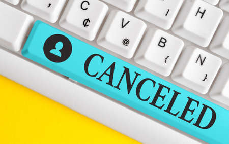 Text sign showing Canceled. Business photo showcasing to decide not to conduct or perform something planned or expected Different colored keyboard key with accessories arranged on empty copy space