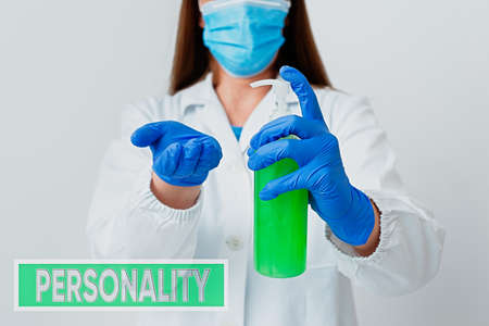 Handwriting text Personality. Conceptual photo the condition or fact of relating to a particular an individual Laboratory blood test sample shown for medical diagnostic analysis result Archivio Fotografico