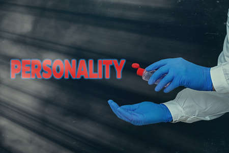 Conceptual hand writing showing Personality. Concept meaning the condition or fact of relating to a particular an individual Displaying Sticker Paper Accessories With Medical Gloves On