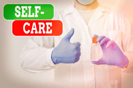 Writing note showing Self Care. Business concept for the practice of taking action to improve one s is own health Laboratory Blood Test Sample Shown For Medical Diagnostic Stock fotó