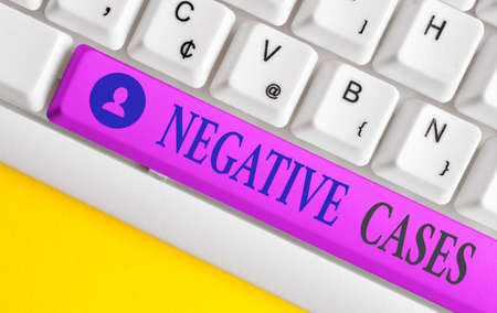 Handwriting text writing Negative Cases. Conceptual photo circumstances or conditions that are confurmed to be false Different colored keyboard key with accessories arranged on empty copy space