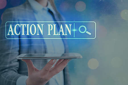 Text sign showing Action Plan. Business photo text detailed plan outlining actions needed to reach goals or vision Web search digital information futuristic technology network connection 版權商用圖片