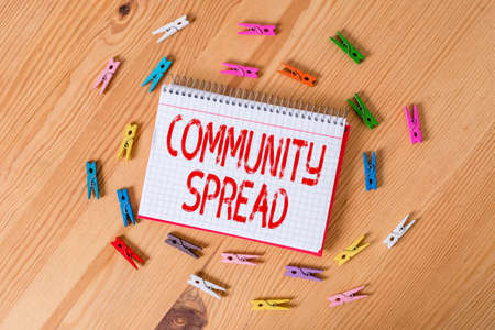 Handwriting text writing Community Spread. Conceptual photo dissemination of a highlycontagious disease within the local area Colored clothespin papers empty reminder wooden floor background office