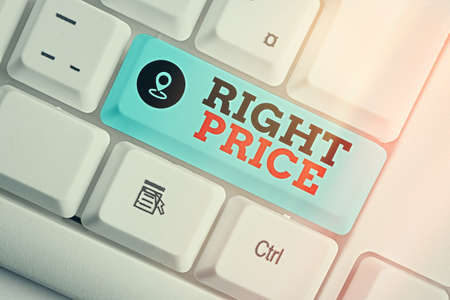 Handwriting text Right Price. Conceptual photo the amount of money that it is reasonable for the product Different colored keyboard key with accessories arranged on empty copy space