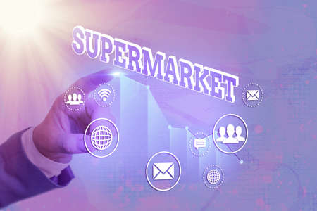 Writing note showing Supermarket. Business concept for organized selfservice shop offering wide variety of product Arrow symbol going upward showing significant achievement