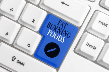 Handwriting text writing Fat Burning Foods. Conceptual photo produce fat loss by stimulating metabolism to reduce appetite Different colored keyboard key with accessories arranged on empty copy space