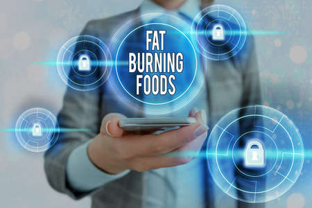 Text sign showing Fat Burning Foods. Business photo showcasing produce fat loss by stimulating metabolism to reduce appetite Graphics padlock for web data information security application system
