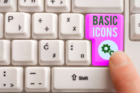 Word writing text Basic Icons. Business photo showcasing pictogram or ideogram displayed on a computer screen or phone Different Colored PC keyboard key With Accessories on Empty background