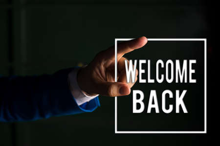 Text sign showing Welcome Back. Business photo text Warm Greetings Arrived Repeat Gladly Accepted Pleased digital arrowhead curve rising upward denoting growth development concept