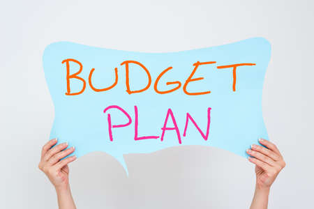 Conceptual hand writing showing Budget Plan. Concept meaning financial schedule for a defined period of time usually year Empty bubble chat sticker mock up emphasizing personal idea