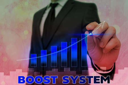 Conceptual hand writing showing Boost System. Concept meaning Rejuvenate Upgrade Strengthen Be Healthier Holistic approach Arrow symbol going upward showing significant achievement